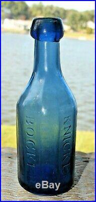 Civil War Antique Knickerbocker Soda Water Bottle C. C. Cobalt Blue NY New York