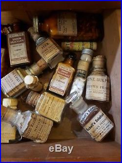 Civil War NY Browns Pharmacy Apothecary Large Medicine Chest Opium Poison Full