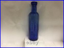 Cobalt Blue Heimstreet Troy Ny Sharp Looking 1860's New York Medicine Bottle