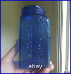 Cobalt Blue Johnson & Johnson New York Rare Quart Medical Gauze Fruit Jar No LID