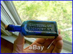 Cobalt Gargling Oil Liniment Lockport Ny Emb &label Bottle With Cork & Seal