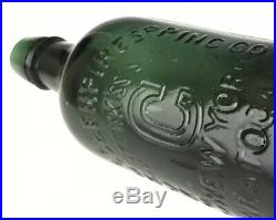 Congress & Empire Spring Mineral Water Bottle, Emerald Pint, Saratoga NY, c. 1870