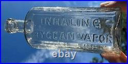 Curtis Inhaling Hygean Vapor New York NY Medicine Cure Bottle Flint No Pontil