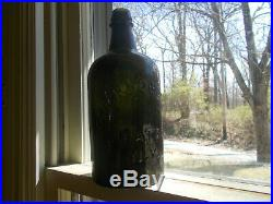 D. A. KNOWLTON SARATOGA N. Y. DEEP GREEN 1860s QUART MINERAL WATER BOTTLE WHITTLED