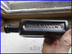 DEEP PUCE PLUM COLOR MRS. ALLENS WORLDS HAIR RESTORER NY 1860s APPLIED LIP