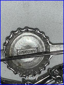 DKNY Donna Karan new york vintage brooch silver tone Bottle Cap