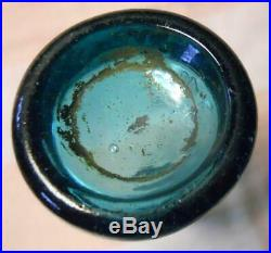 Dark Blue Aqua Iron Pontil RC&T New York Soda Bottle No Chips Cracks Sparkling
