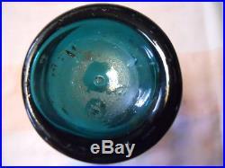 Dark Green J & A Dearborn New York City NY Iron Pontil Squat Soda or Ale Bottle