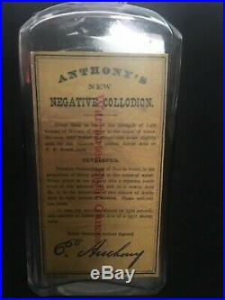 E. Anthony's Negative Collodion Bottle Embosed New York