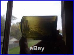 E. Roome Troy New York Early Pontiled Olive Green Snuff Bottle