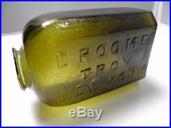 E. Roome Troy New York Embossed Open Pontil Snuff Rare color