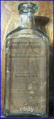 EXTREMELY RARE FULL LABEL SARGENT & Co AMERICAN / CANCHALAGOGUE NEW YORK