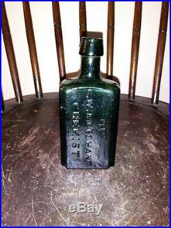 Early C. W Merchant Chemist Bottle Lockport, NY Crude Green Glass Medicine Bottle