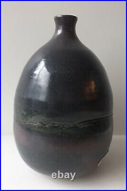 Early Judy Jackson Stoneware Bottle Vase With Lip Studio Pottery Label NY Artist