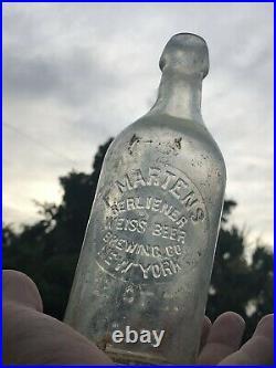 Early RARE Blob top F Martens Berliener Brewing Co Weiss Beer bottle New York