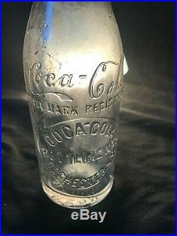 Early Straight Sided Coca Cola Script Bottle Rochester NY Anderson LA