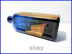 Elixir Lactopeptine New York Cobalt Glass Antique Bottle & Lable 7+3/4 POISON
