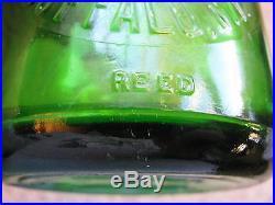 Emerald Green TREQ Milk Bottle Langs Creamery Buffalo, N. Y. REED RARE