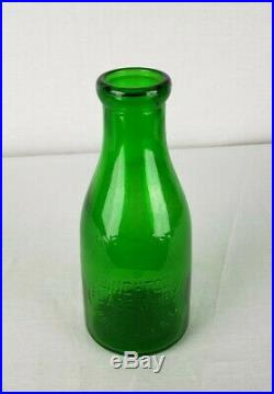 Emerald Green Treq Milk Bottle Brighton Place Dairy Rochester NY Reed
