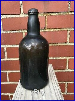 English Mallet Black Glass Bottle 1700's From Ex- Up State New York Museum