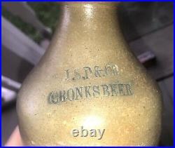 Extremely Rare CRONKS BEER 1840s Stoneware Bottle Syracuse NY Cobalt Mark