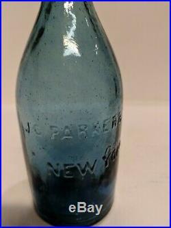 FIZZY SAPPHIRE BLUE IRON PONTIL JC PARKER & SON NY Glass Blob Top Soda bottle