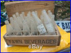 Fawn Beverages Crate 24 Lot 6oz Soda Pop Bottles VTG Elmira, NY Rare Advertising