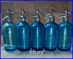Five Beautiful Blue Antique Vintage Seltzer Bottles From Ny And Bridgeport Conn