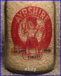 Frankfort NY Strathbar Farms Baby Face Milk Bottle Ayrshire Milk 1 Quart RARE