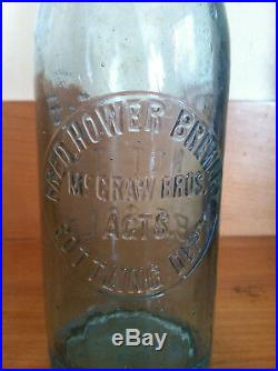 Fred Hower Brewery New York Blob Top Aqua Bottle Late 1800's Rare