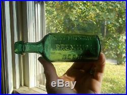 G. W. HOXSIE'S PREMIUM BEER GREEN ALBANY, NY 1860s DRIPPY LIP CIVIL WAR ERA BOTTLE