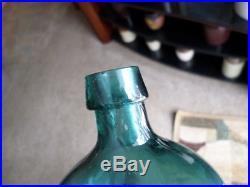 G. W. Merchant Chemist, Lockport, N. Y. Iron Pontil, Apl. Tapered Lip, Nice Teal Color