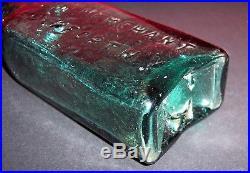 G W Merchant Lockport NY Blue/Green Old Pontil Bottom Bottle Sharp Open
