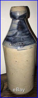 Glen Falls NY E-ferris Stoneware Beer Bottle Uncommon Brushed Glaze Not Dipped
