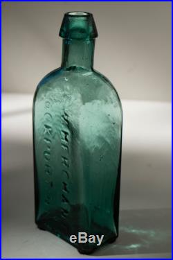 Great Color! G. W. MERCHANT LOCKPORT. N. Y. Tombstone Blue-Green Shiny Glass
