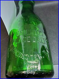 Green Quart Milk Bottle Brighton Place Dairy Rochester NY RARE SLAG