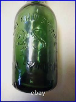 Green Tweddle's New York City Tapered Top Iron Pontil Soda Mineral Water Bottle