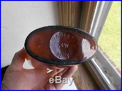 HAGERTY GLASSWORKS N. Y. RARE AMBER QUART WHISKEY FLASK 1870s APPLIED LIP