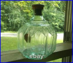 HAYWARD HAND GRNADE FIRE EXTINGUISHER NY AQUA 1880s PLEATED BOTTLE PARTIAL LABEL