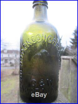 HIGHROCK CONGRESS SPRINGS Mountain C & W SARATOGA NY Yellowish OLIVE GRN Bottle