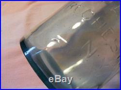 Half Gallon Blue Aqua Fruit Mason Canning Jar C F Spencer's Patent Rochester NY