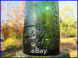 Highrock Congress Springs C & W Saratoga Ny Embossed Mineral Water Bottle