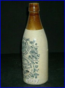 Hinckel Brewing Co. Abany, New York Stoneware Pint Bottle Krug Bier Beer