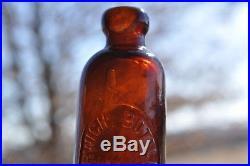 Hutch Norwich Bottling Works Norwich, N. Y. Orange/Amber Applied Top