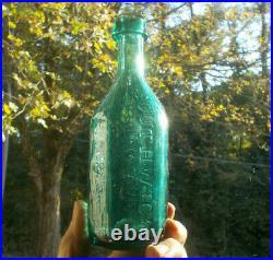 IRON PONTIL 10 SIDED SOUTHWICK & TUPPER NEW YORK PRETTY TEAL GREEN 1840s SODA