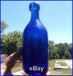 IRON PONTIL COBALT BLUE 10 SIDED W. P. KNICKERBOCKER SODA WATER 18th ST NY 1848