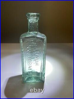 IRON PONTIL Dr CAMPBELL'S HAIR INVIGORATOR AURORA, NEW YORK 1850s BOTTLE 5.75 in