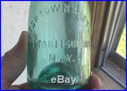IRON PONTIL WATERTOWN, NY BOTTLING ESTABLISHMENT 1850s SODA BOTTLE CRUDE BLOB TOP