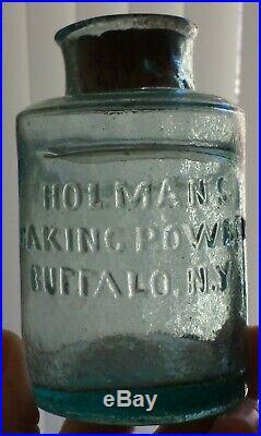 Insane Crude Early Food Type Jar, Holman's Baking Powder, Buffalo, New York