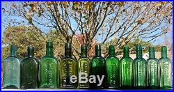 Instant Color Run Of 1 Dozen Lockport, N. Y. Gargling Oil Bottlesgreat Colors